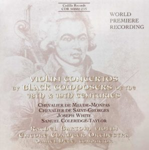 Album Cover: Violin Concertos by Black Composers of the 18th & 19th Centuries