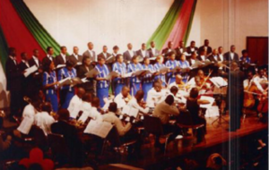 orchestra and choir performing